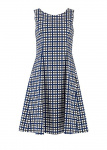 Christy Checked Flared Dress - navy