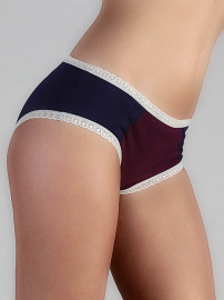 Ladies Panties with lace - dark blue/aubergine/white
