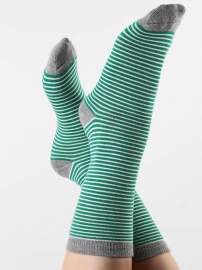 Socks - green/natural/grey striped