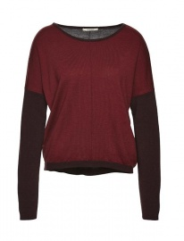 Batwing-Strickpullover - rot/grau