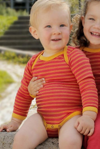 Baby-Body, lang-sleeved - red/yellow