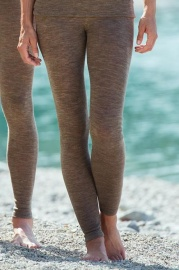 Damen Leggins Wolle / Seide - walnuss