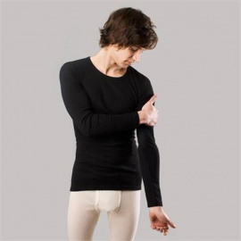 Longsleeve, wool/silk - black