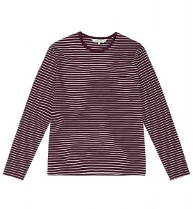 Ezra Stripe Long Sleeve Tee - burgundy