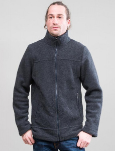 Herren-Fleece-Jacke aus Wolle - anthrazit