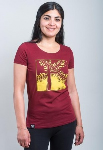 "Damen-T-Shirt ""Garden"" - bordeaux/gelb"