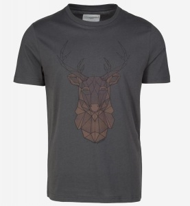 "T-Shirt ""James Geo Deer"" - grauschwarz"
