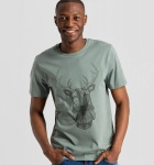 "T-Shirt ""James Geo Deer"" - graugrün"