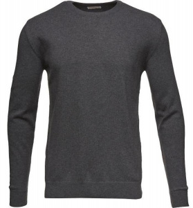 O-Neck Cotton/Cashmere - dark grey melange