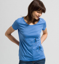 "Shirt ""Mari Faded Butterflies"" - azurblau"