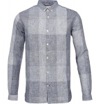 """Big Check Shirt"" (Leinen) - blau"