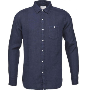 Garment Dyed Linen Shirt - navy