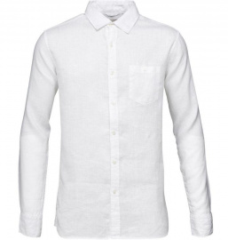 Garment Dyed Linen Shirt - white