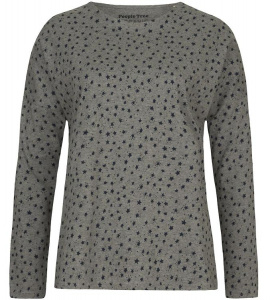 Stars Pajama Long Sleeve Top - grey melange