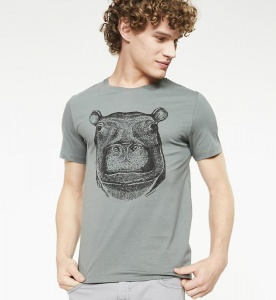 "T-Shirt ""James Hippo"" - graugrün"