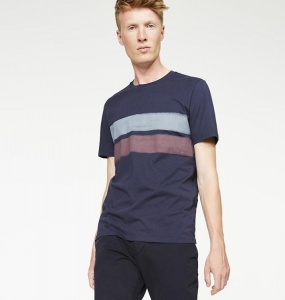 "T-Shirt ""James Two Stripes"" - navy"