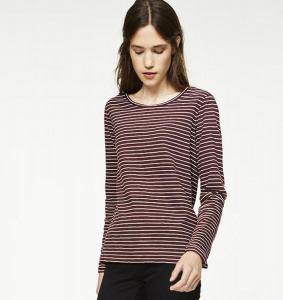 "Longsleeve ""Charlotte Twin Stripes"" - bordeaux/weiß"