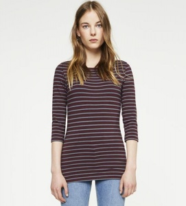 "Longsleeve ""Darja Stripes"" - bordeaux/petrol"