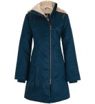 Ladies' Long Hoodlamb Coat (vegan) - dunkelblau