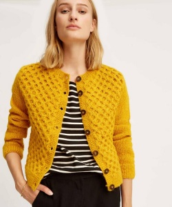 "Cardigan ""Honeycomb"" (Wolle) - gelb"
