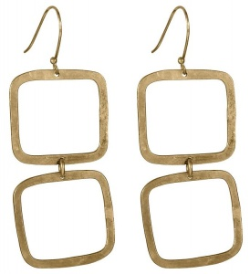 Square Drop Earrings - brass