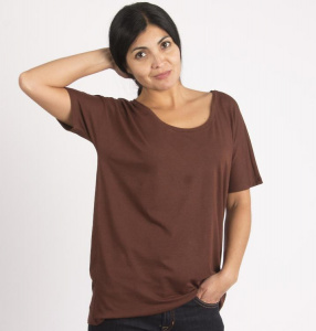 "Loose T-Shirt ""Rosa"" - rost brown"
