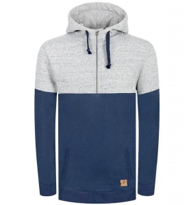 "Bleed Kapuzenpullover ""Denim Half-Zip"" - jeansblau"