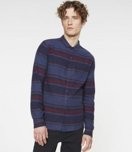 "Flannell-Hemd ""Darian Stripes"" - navy"