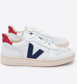 "Veja Schuh ""V-10 Leather"" - extra white nautico pekin"