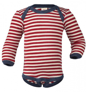 Woolen Baby-Body, Long Sleeved - red/natural