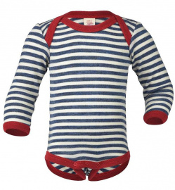 Woolen Baby-Body, Long Sleeved - blue/natural