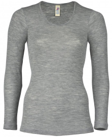 Shirt, Long Sleeved (Wool and Silk) - light grey melange