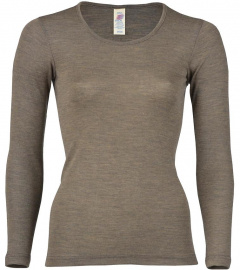 Shirt, long sleeves, from wool/silk - walnut