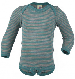 Body, Long Sleeved (Wool and Silk) - light grey/turquoise