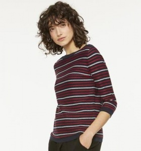"Strickpullover ""Olia Stripes"" - navy/rot/weiß"