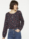 "Bluse ""Noreen Bubble Dots"" - navy/rot"