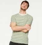 "Leinen-T-Shirt ""Jamie Stripe Patch"" - grün/beige"