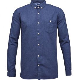 Solid Col. Flanel Shirt - estate blue