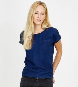 "Tencel-Bluse ""Turn Up"" - denimblau"