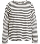 Stripe Pajama Long Sleeve Top - grey melange
