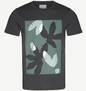 "T-Shirt ""James Jungle Leaves"" - noir grisé"
