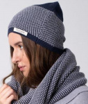 Knitted Beanie - blue/grey