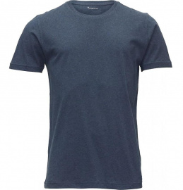 Basic Regular Fit O-Neck T-Shirt - blau meliert