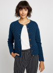 "Cardigan ""Honeycomb"" (Wolle) - blau"