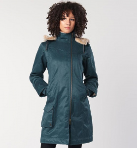 Ladies' Long Hoodlamb Coat (vegan) - blau