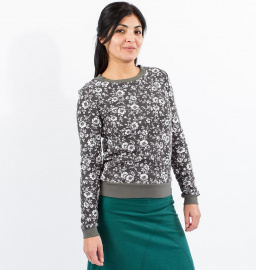 "Sweater ""Wild Roses"" (hemp) - light grey"