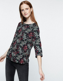 "Blouse ""Heddaa Bow Meadow Flower"" - noir"
