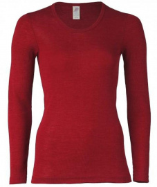 Women shirt, long sleeves, from wool/silk - malve