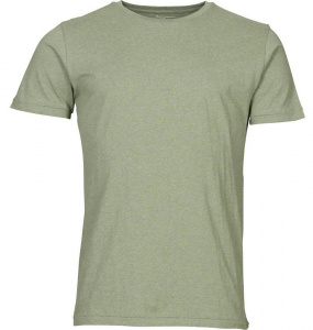 Basic Regular Fit O-Neck T-Shirt - grün meliert