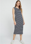 Amelia Stripe Dress - navy